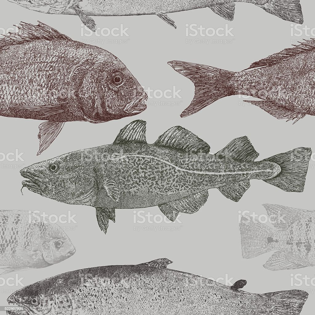 Fish Repeat Pattern vector art illustration