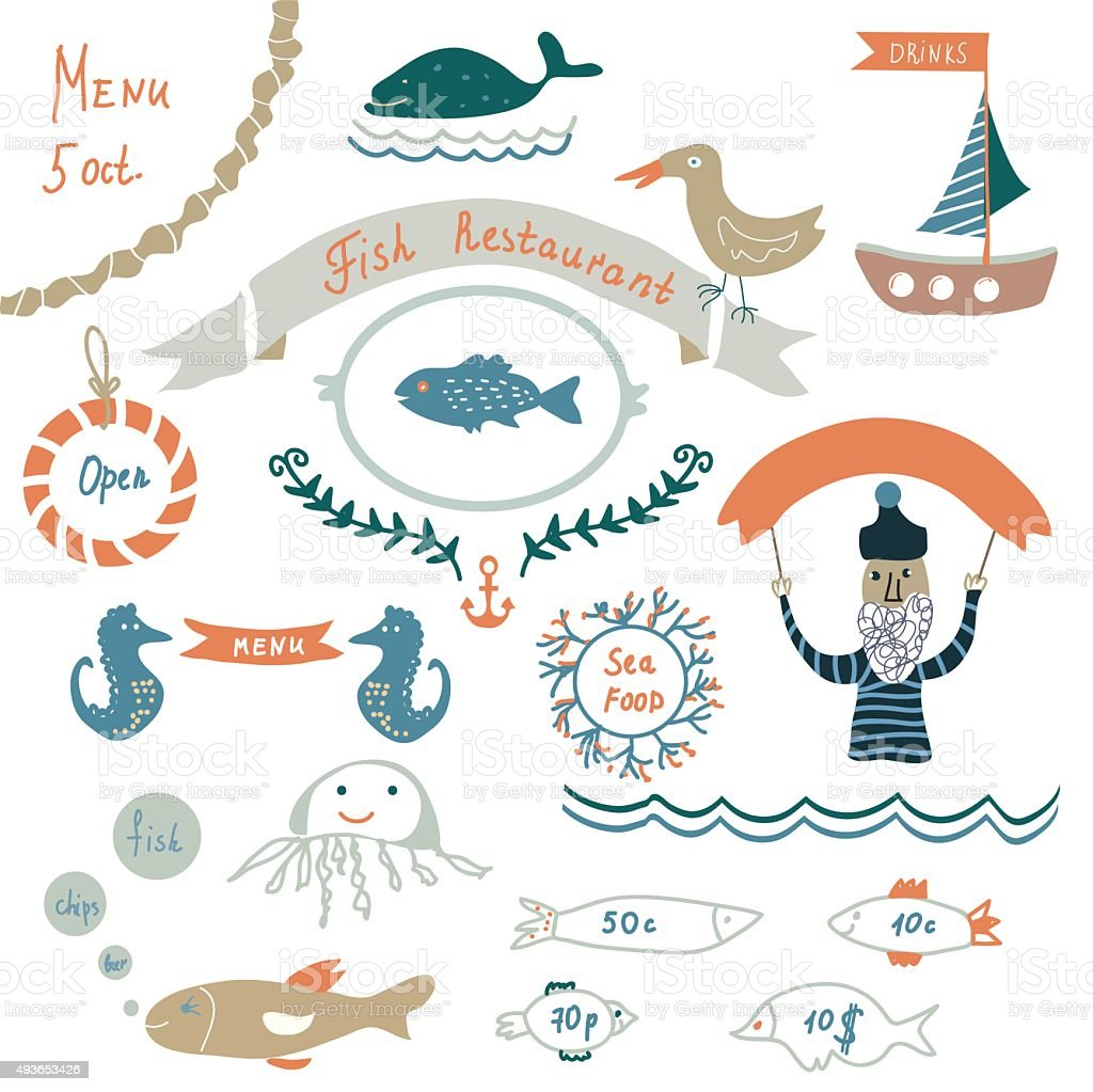 fish restaurant invitation or menu elements funny design stock