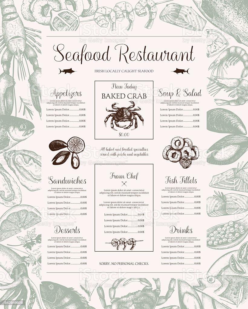 Fish restaurant menu design. vector art illustration