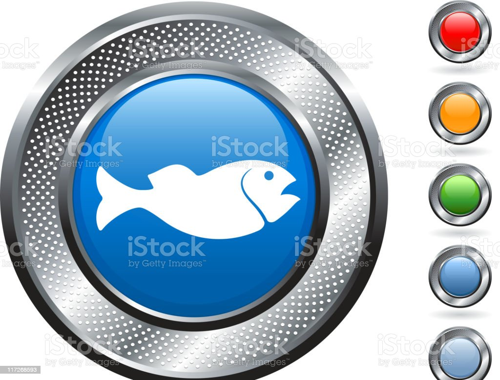 fish royalty free vector art on metallic button royalty-free stock vector art