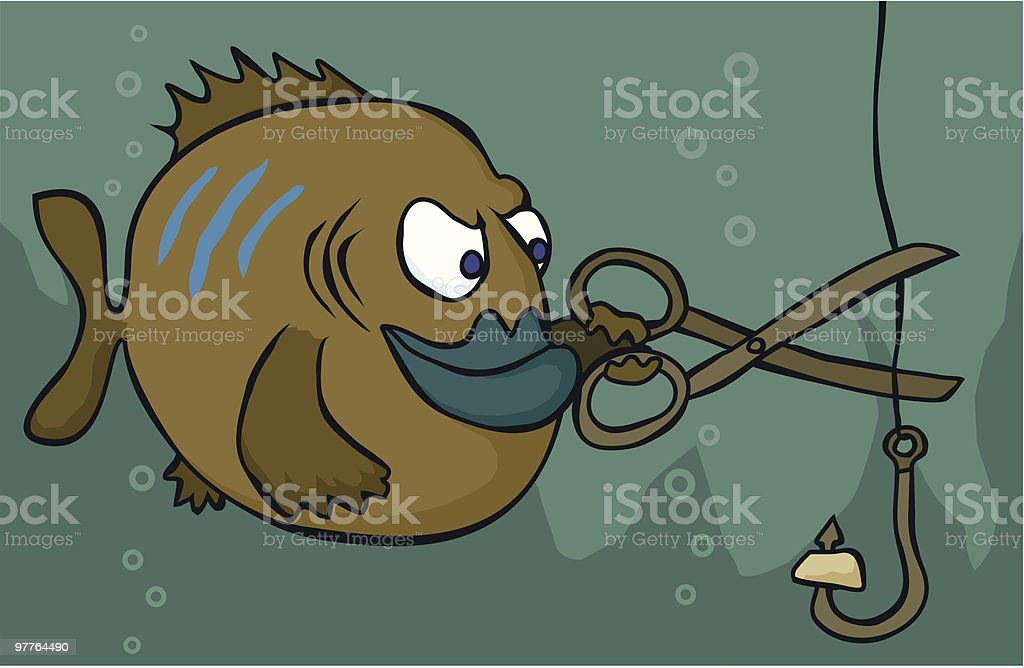 Fish Sabotage vector art illustration