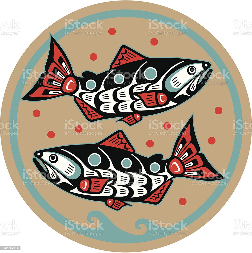 Fish - Salmon in Native American Style Vector royalty-free stock vector art