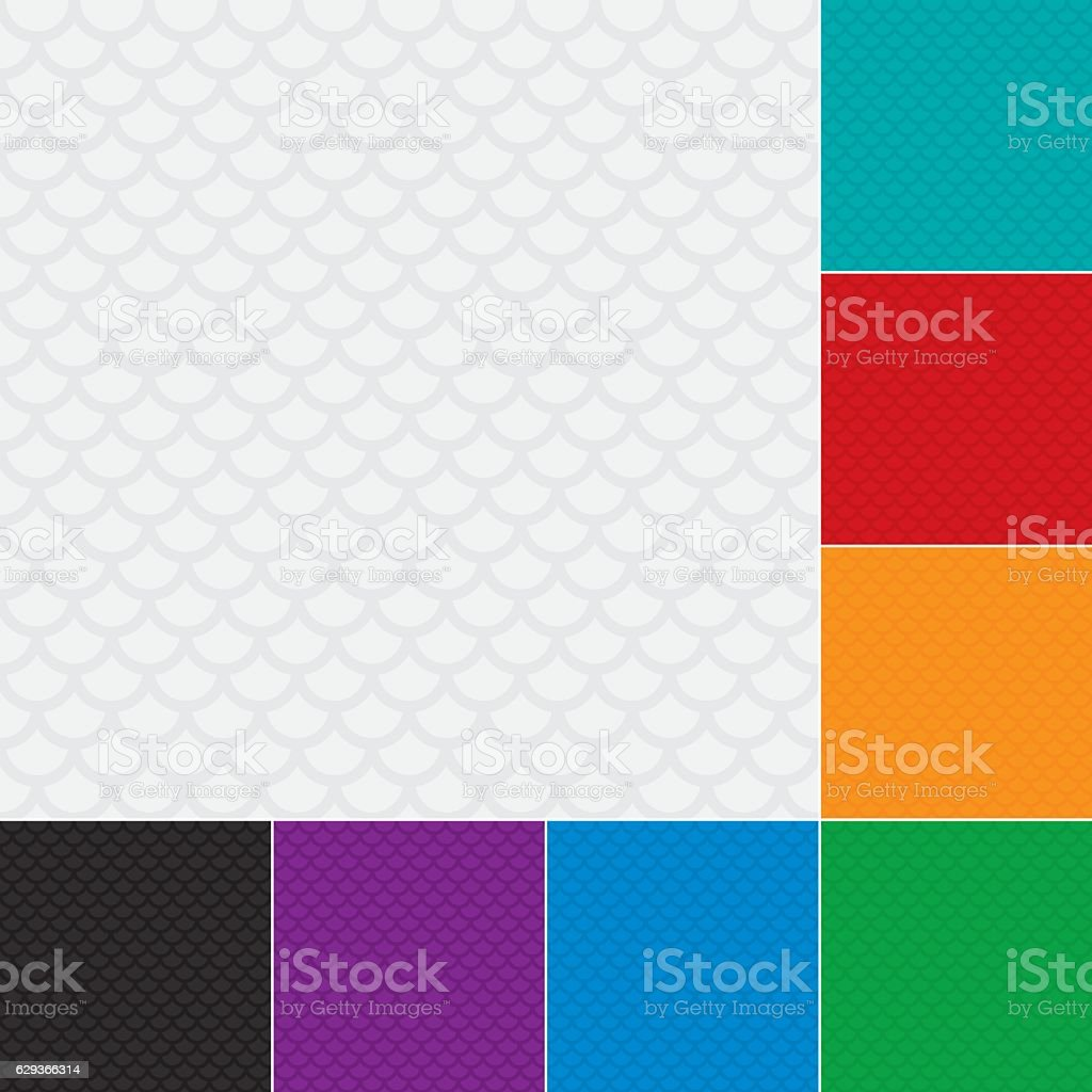 Fish scale pattern. Multicolor Set of Neutral geometric seamless patterns vector art illustration