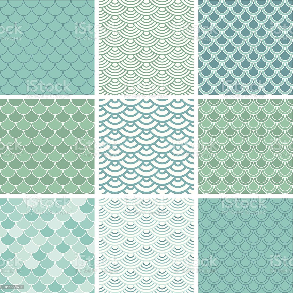 Fish scale seamless pattern set vector art illustration