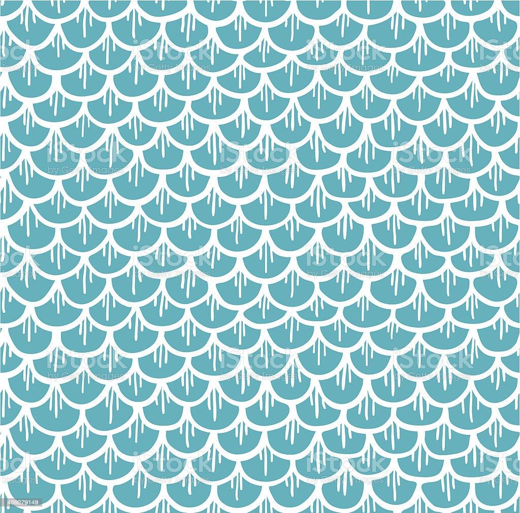 Fish Scales Seamless Pattern Cartoon Blue vector art illustration