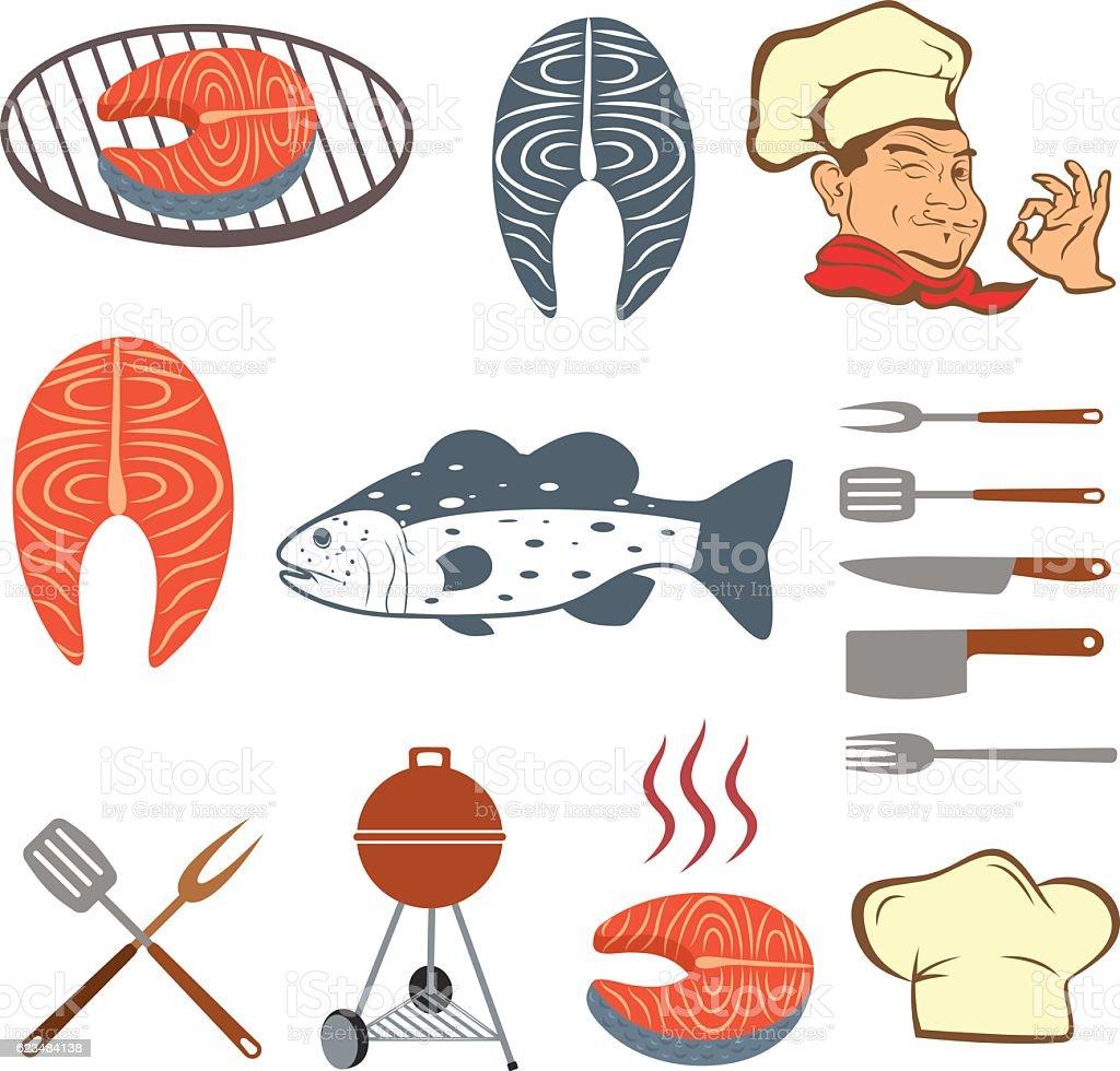 Fish set of steak and tools vector art illustration