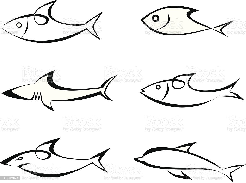Fish - set of vector icons royalty-free stock vector art