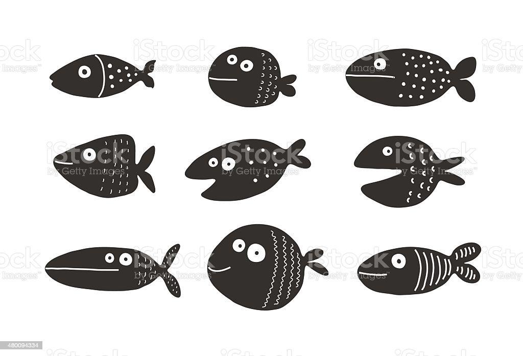 Fish set silhouettes, vector illustration vector art illustration