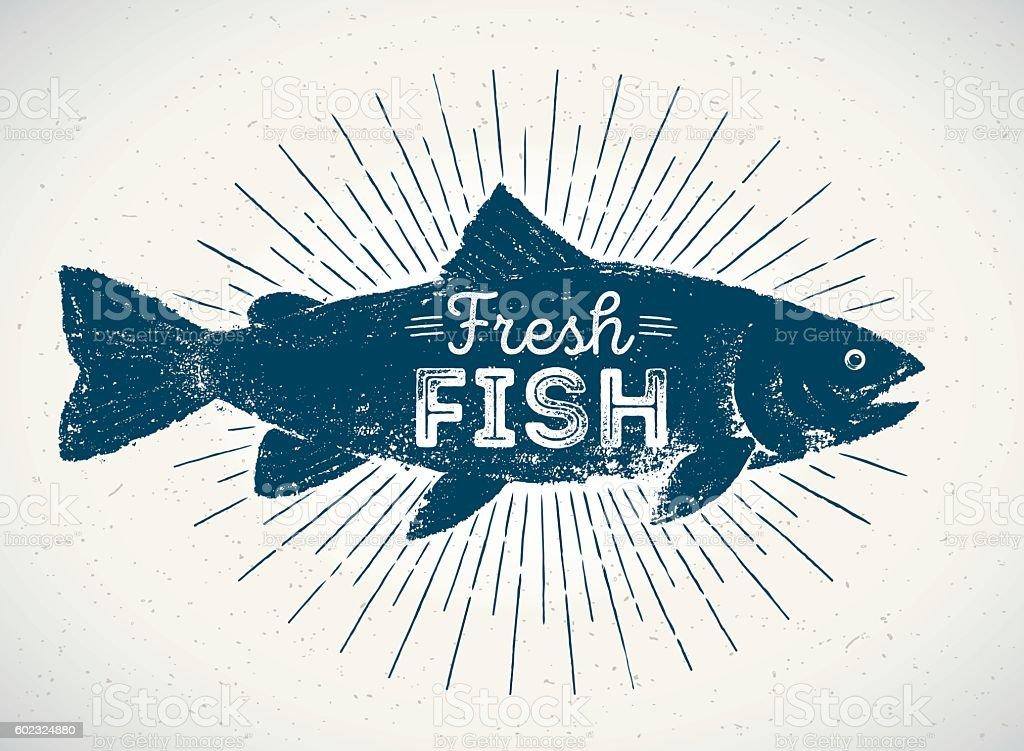 Fish silhouette. vector art illustration