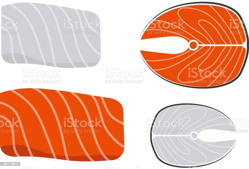 Fish slice vector illustration. vector art illustration