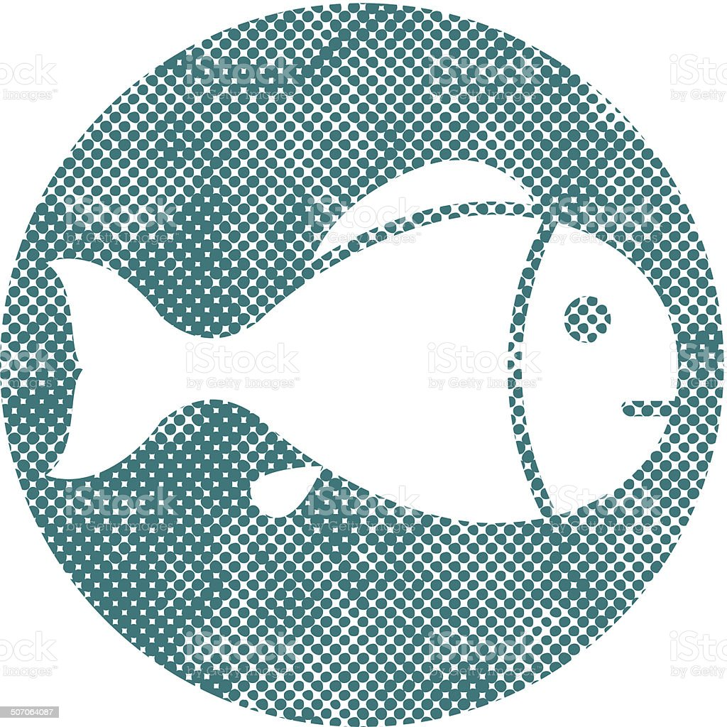 Fish symbol with pixel print halftone dots texture. royalty-free stock vector art
