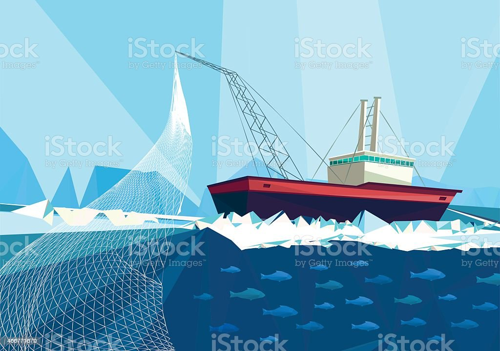 fish trawler vector art illustration
