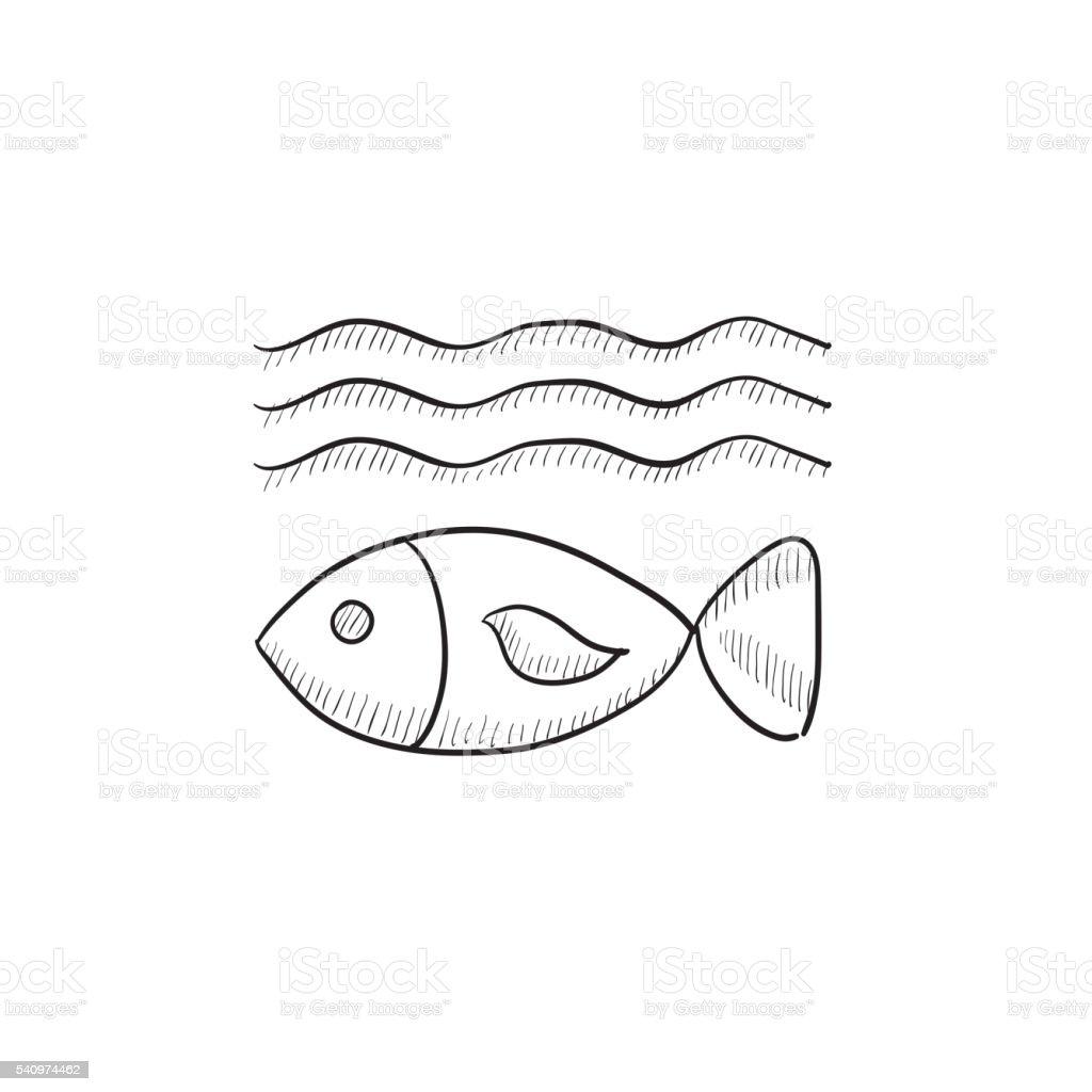 Fish under water sketch icon. vector art illustration