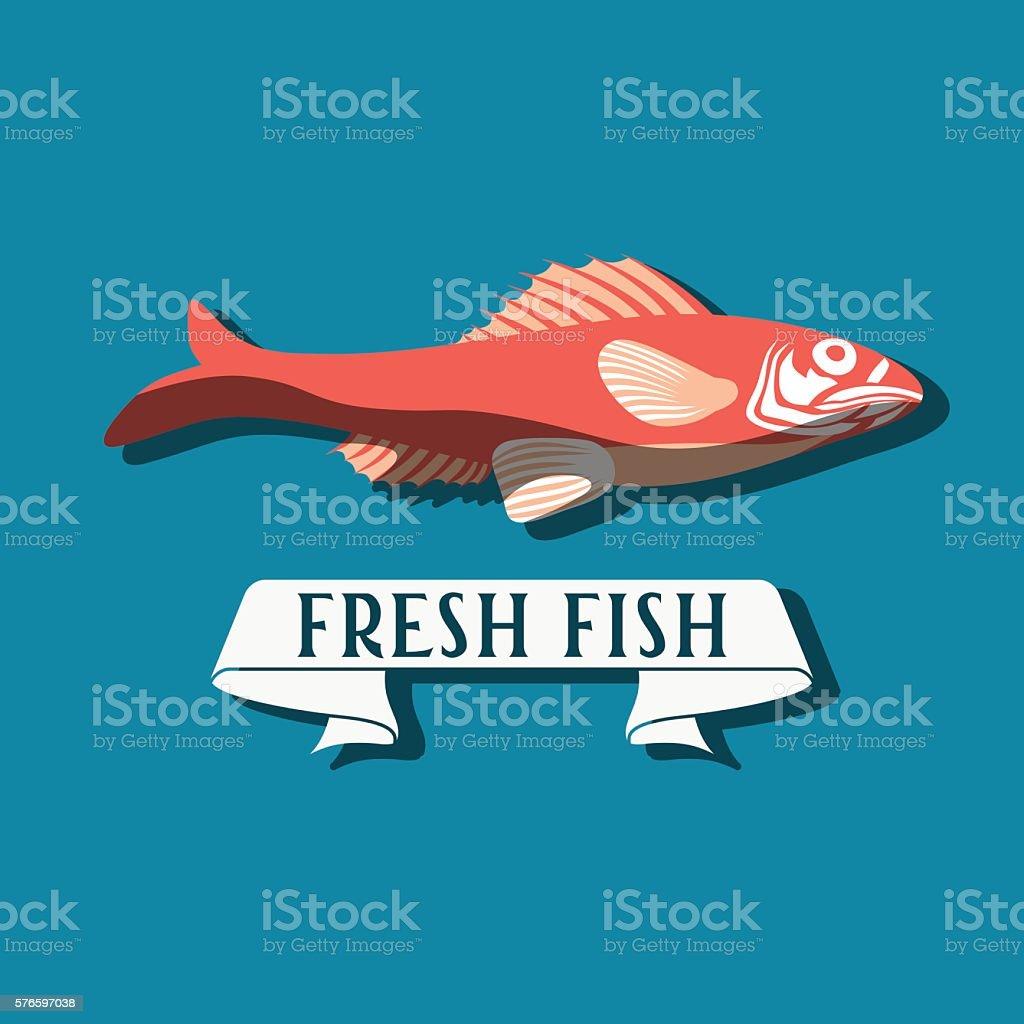Fish - vector. Logo, badge or label design template vector art illustration