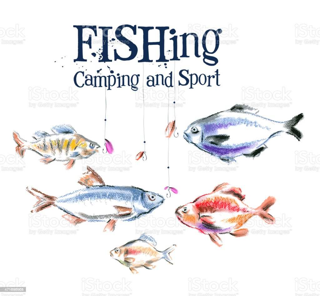 fish vector logo design template.  fishing or sport icon vector art illustration