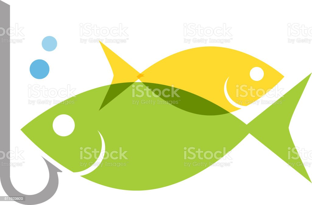 Fish with hook concept icon vector art illustration