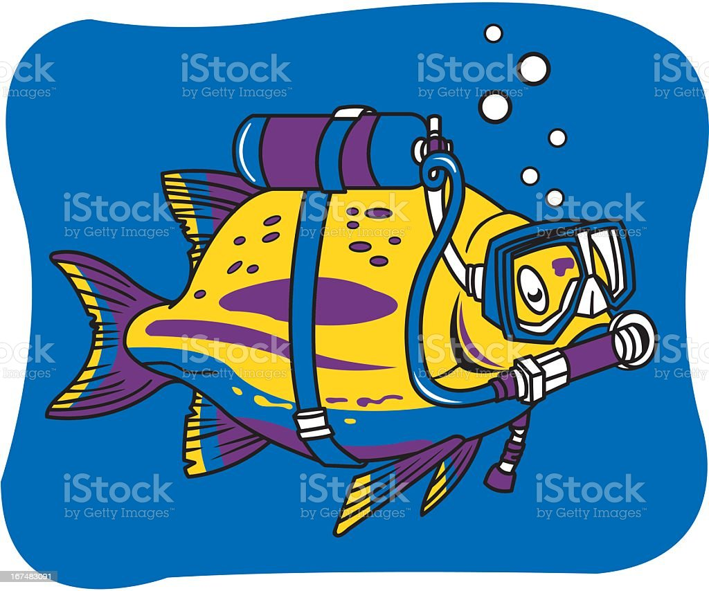 Fish With Scuba Gear. royalty-free stock vector art
