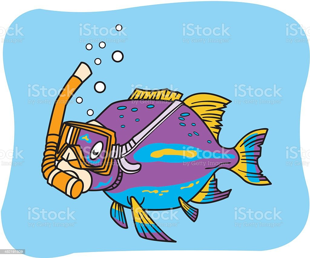 Fish with Snorkel royalty-free stock vector art