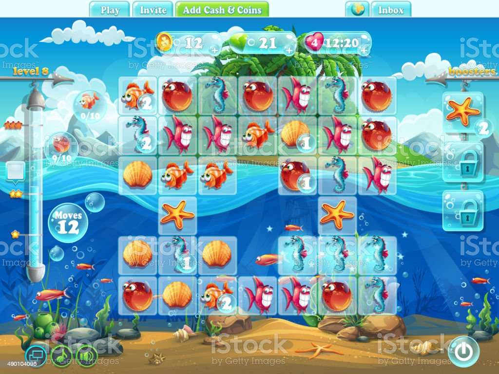 Fish world- playing field for the computer game or web vector art illustration