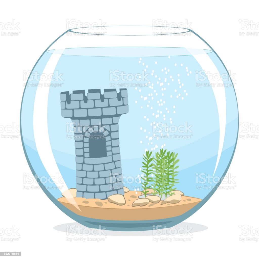Fishbowl aquarium vector art illustration