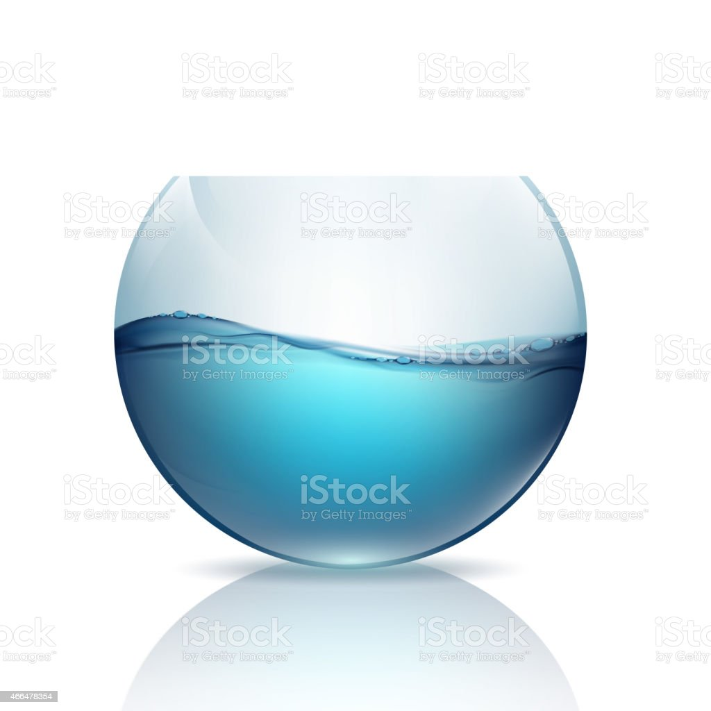 fishbowl with water isolated on a white background vector art illustration