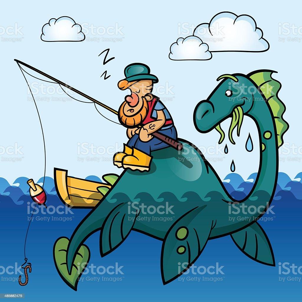 Fisherman and dinosaur royalty-free stock vector art