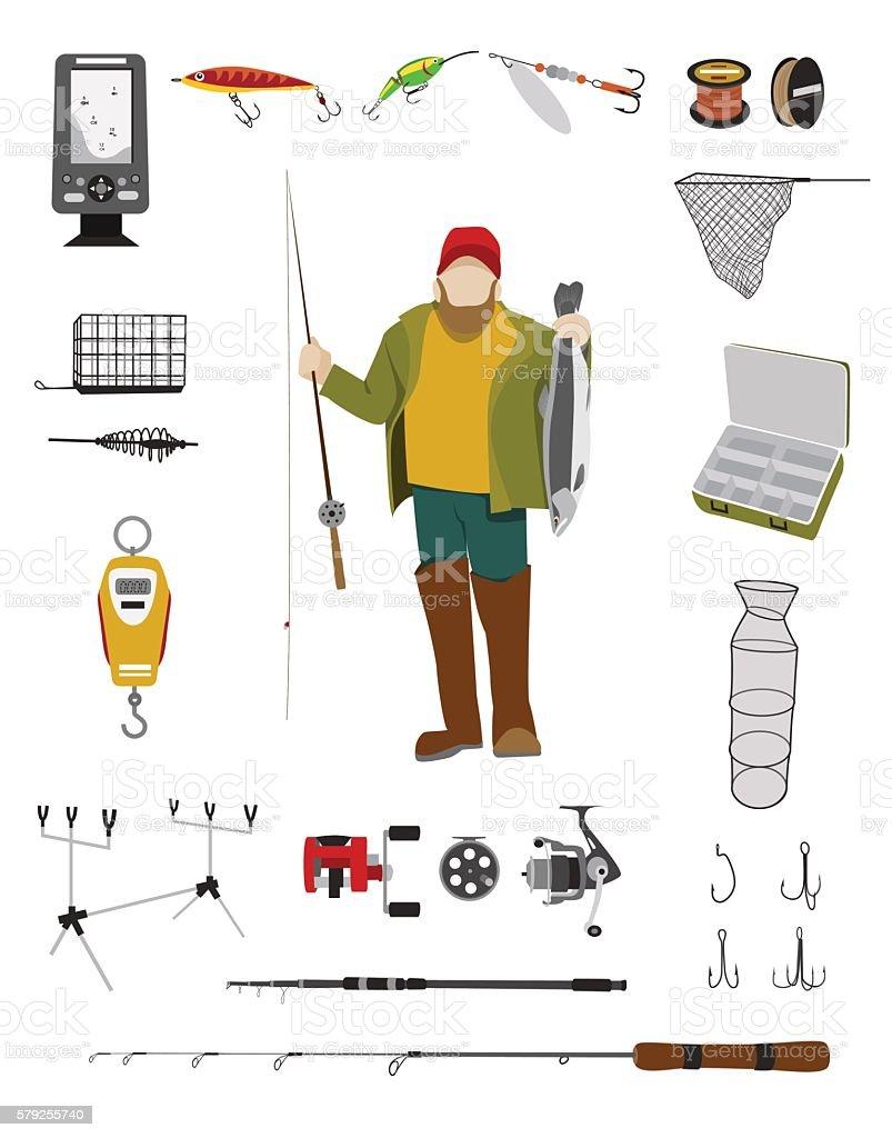 Fisherman and fishing tackle flat icon set vector art illustration