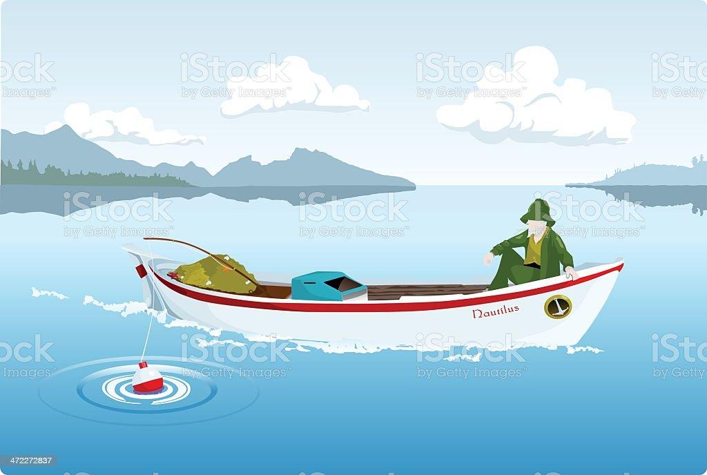 Fisherman and the Lake vector art illustration