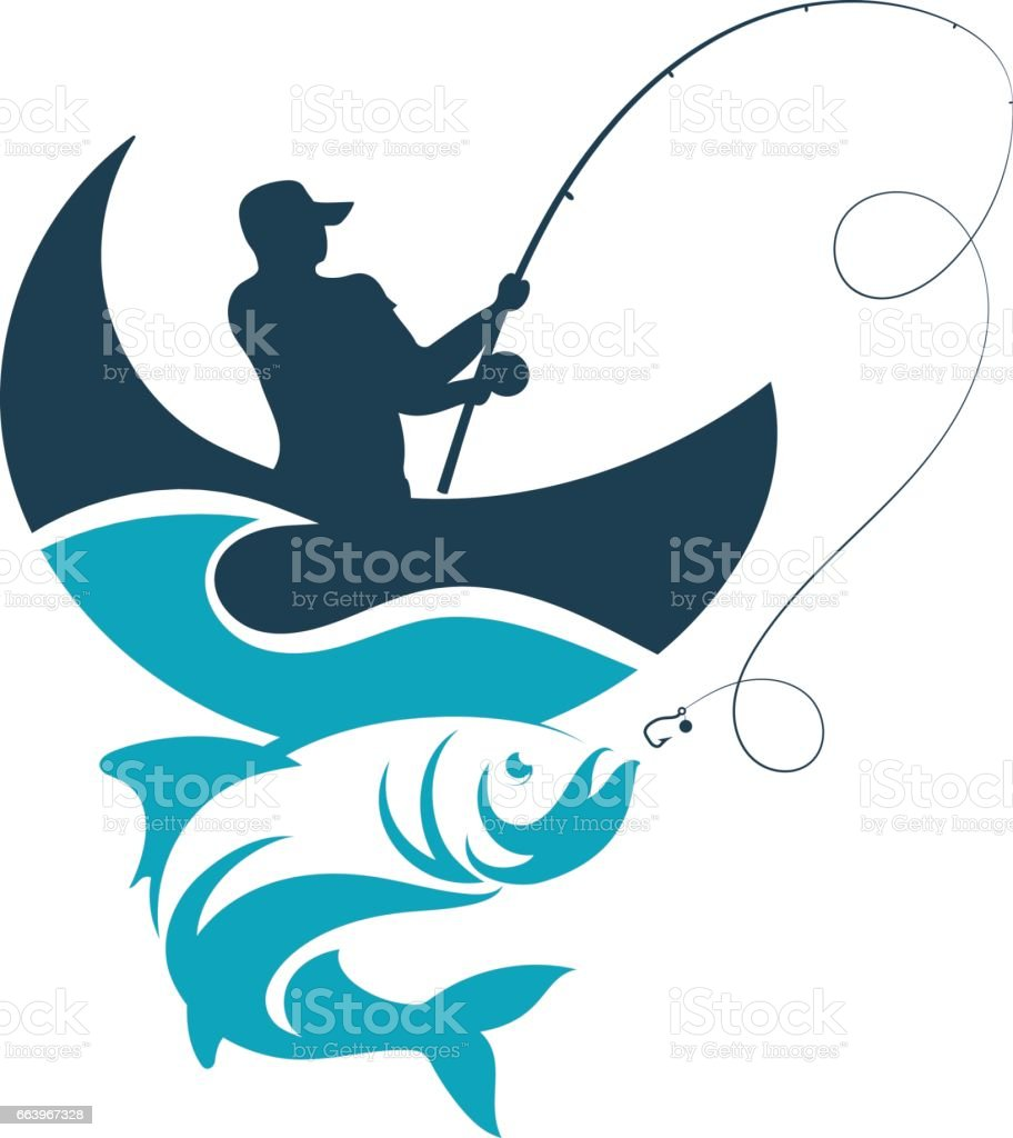 Fisherman catches from the boat on a wave vector art illustration