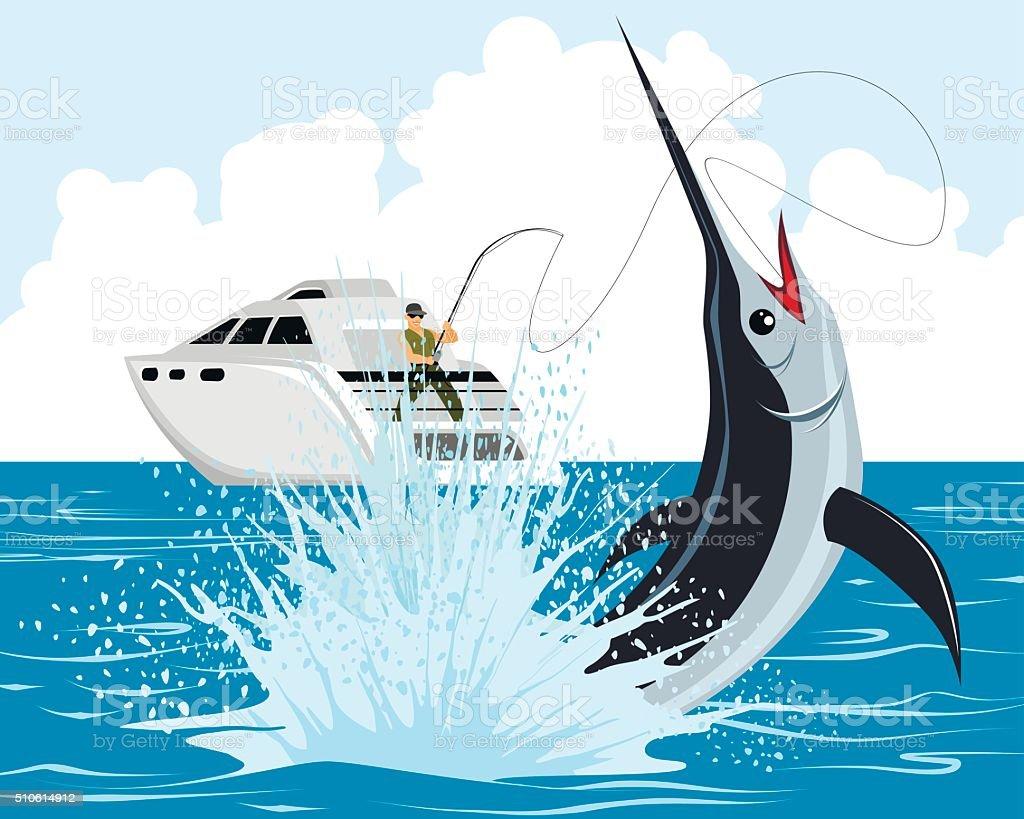 Fisherman catches marlin vector art illustration