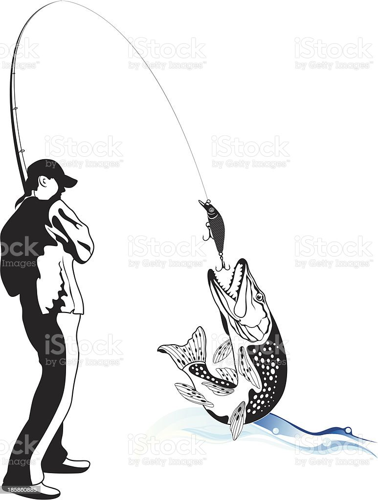Fisherman caught a pike, vector illustration vector art illustration