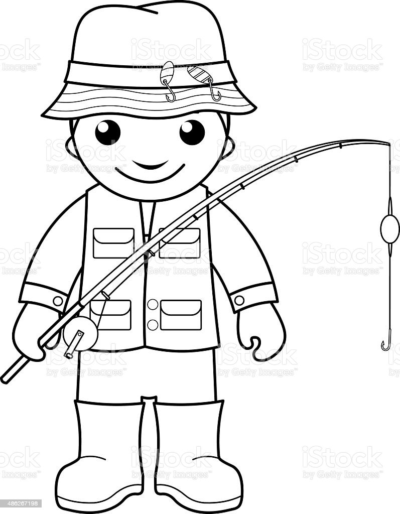 Fishing Cartoon Child Fisherman Clip Art Vector Images