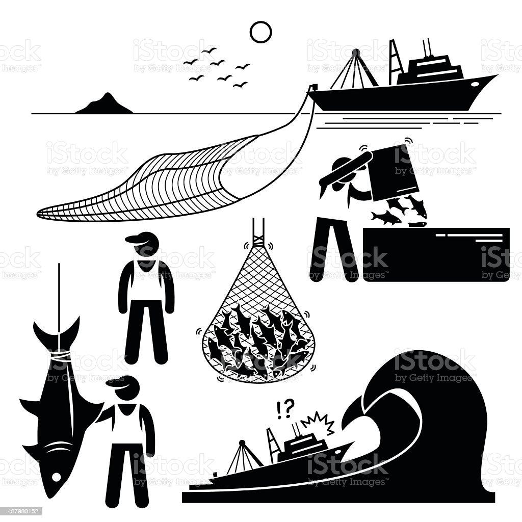 Fisherman Fishery Industry Industrial Pictogram vector art illustration