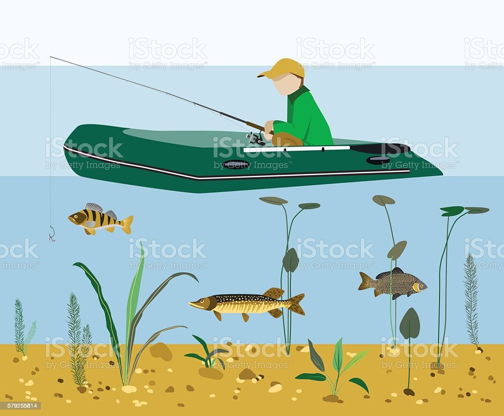 Fisherman fishing in a boat flat vector concept vector art illustration