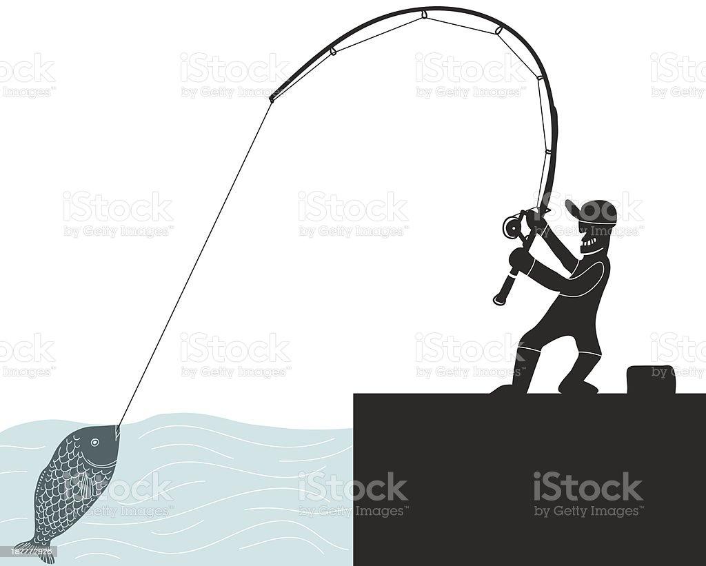 fisherman hooking a fish royalty-free stock vector art