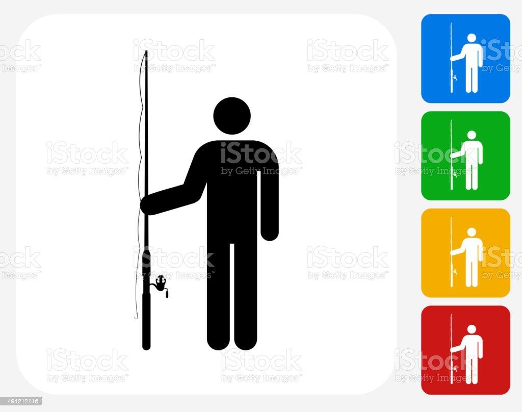 Fisherman Icon Flat Graphic Design vector art illustration
