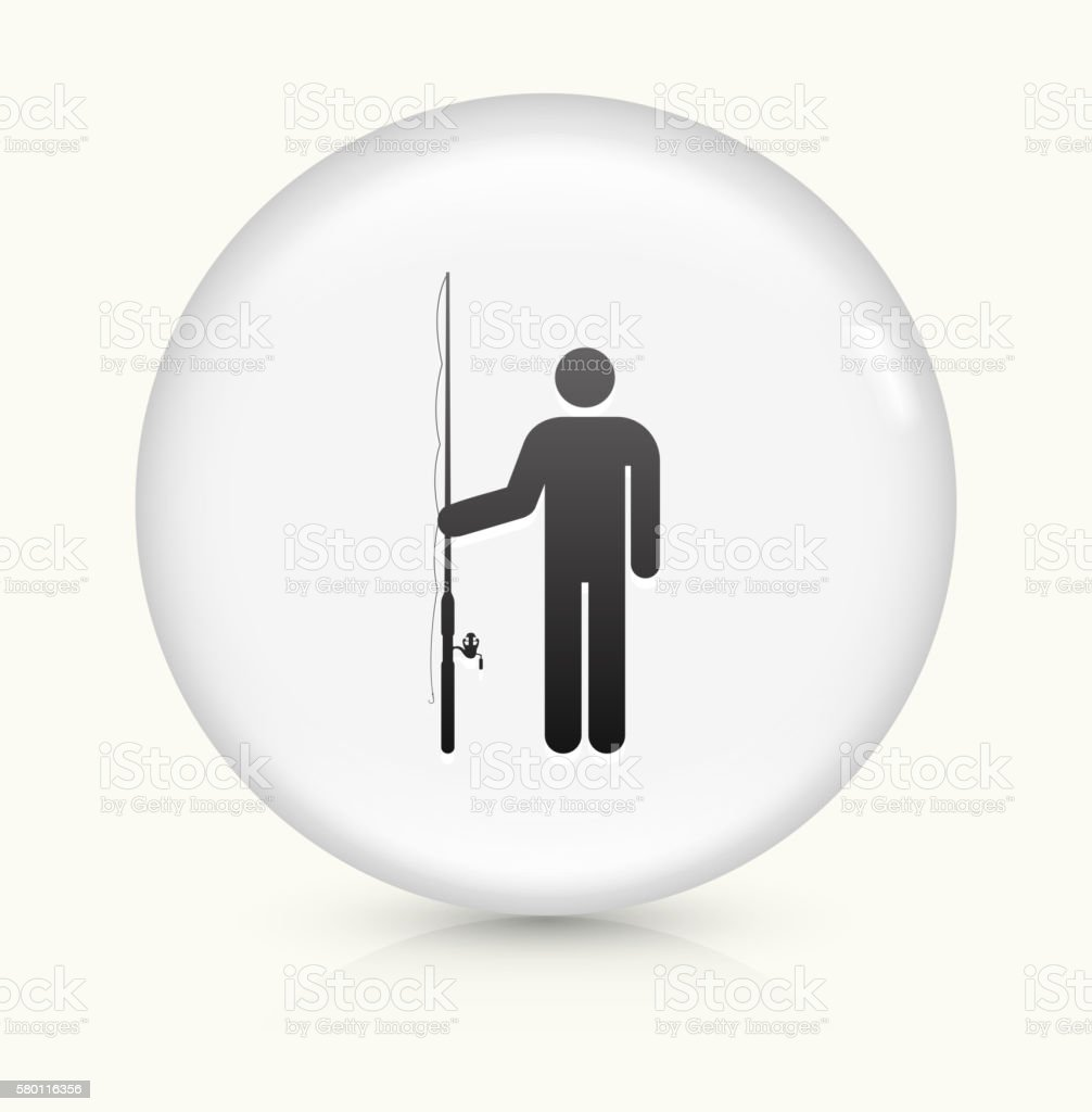 Fisherman icon on white round vector button vector art illustration