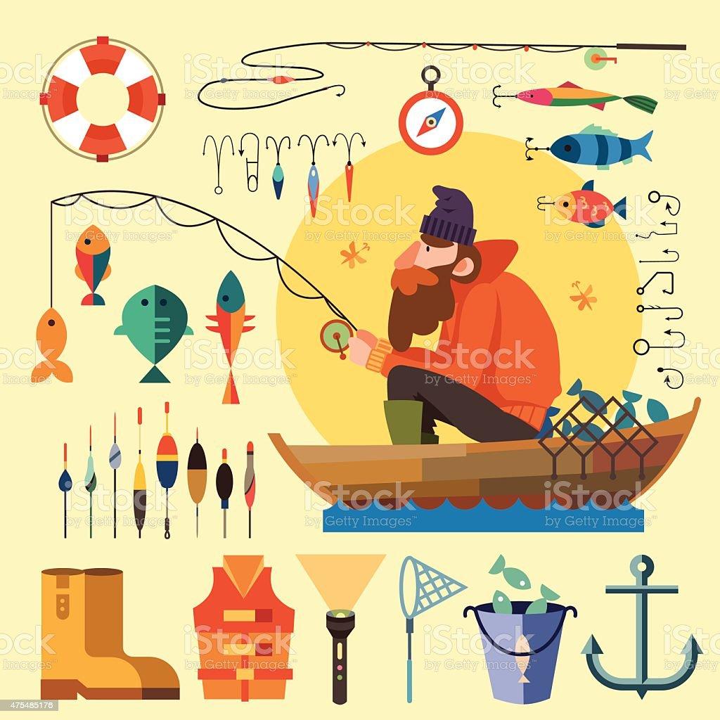 Fisherman in a boat fishing vector art illustration