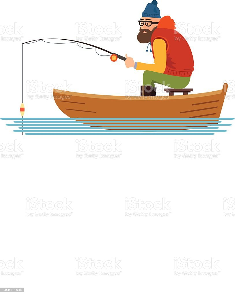 Fisherman in a boat on the white background vector art illustration