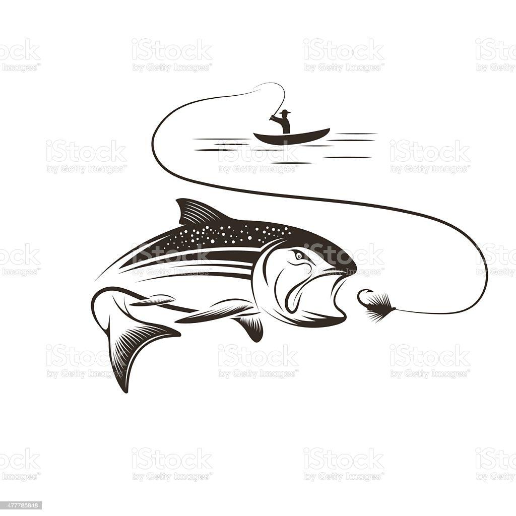 fisherman in boat and salmon vector art illustration
