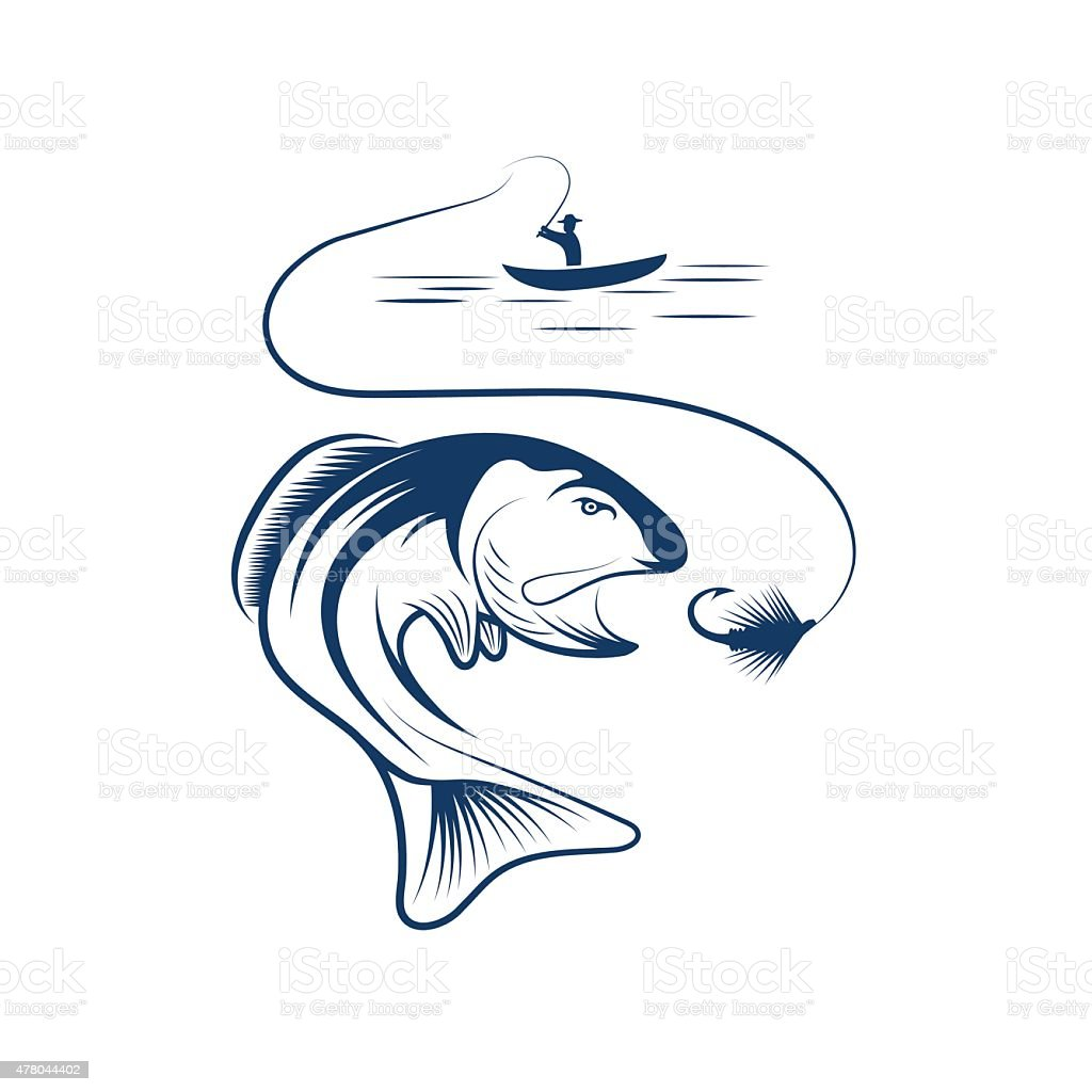 fisherman in boat and salmon vector art illustration