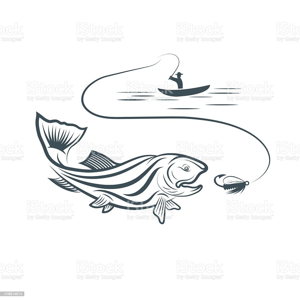 fisherman in boat and trout vector art illustration