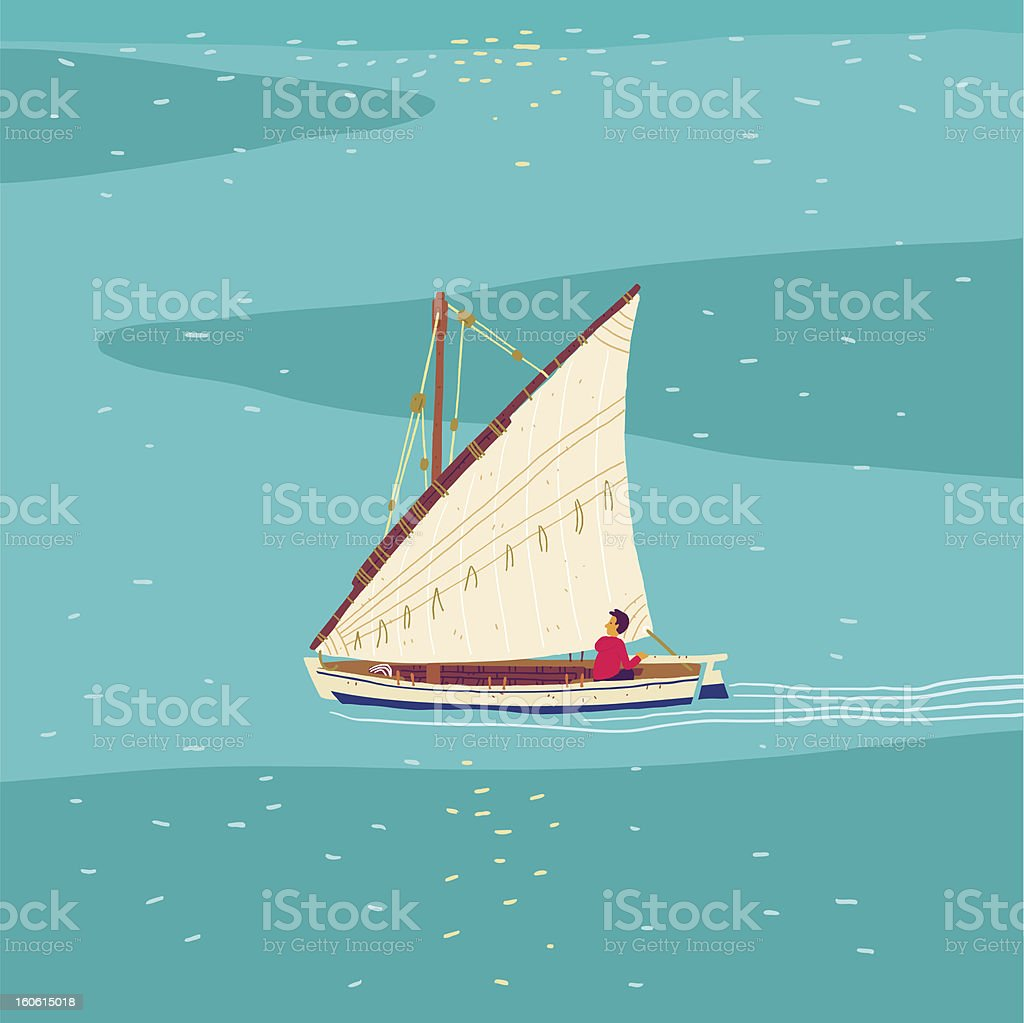 Fisherman sailboat royalty-free stock vector art