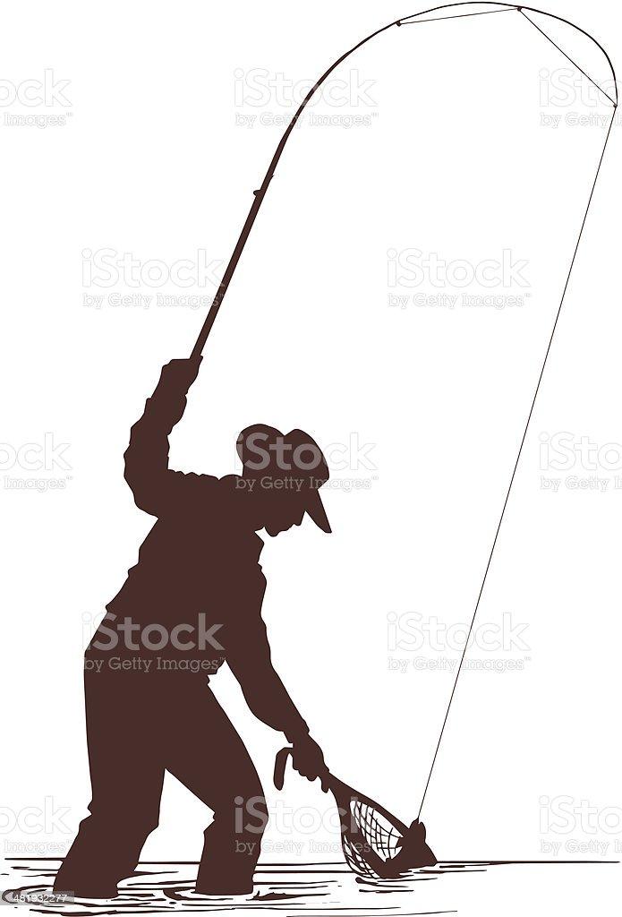 Fisherman Silhouette vector art illustration