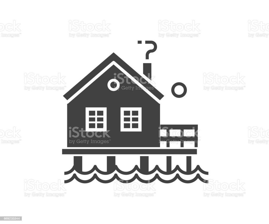 Fisherman Stilt House Icon vector art illustration