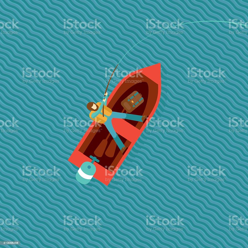 Fisherman Top View vector art illustration