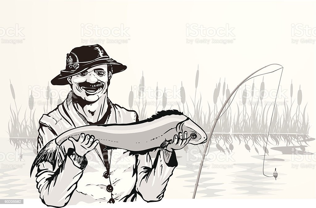 fisherman with the fish royalty-free stock vector art