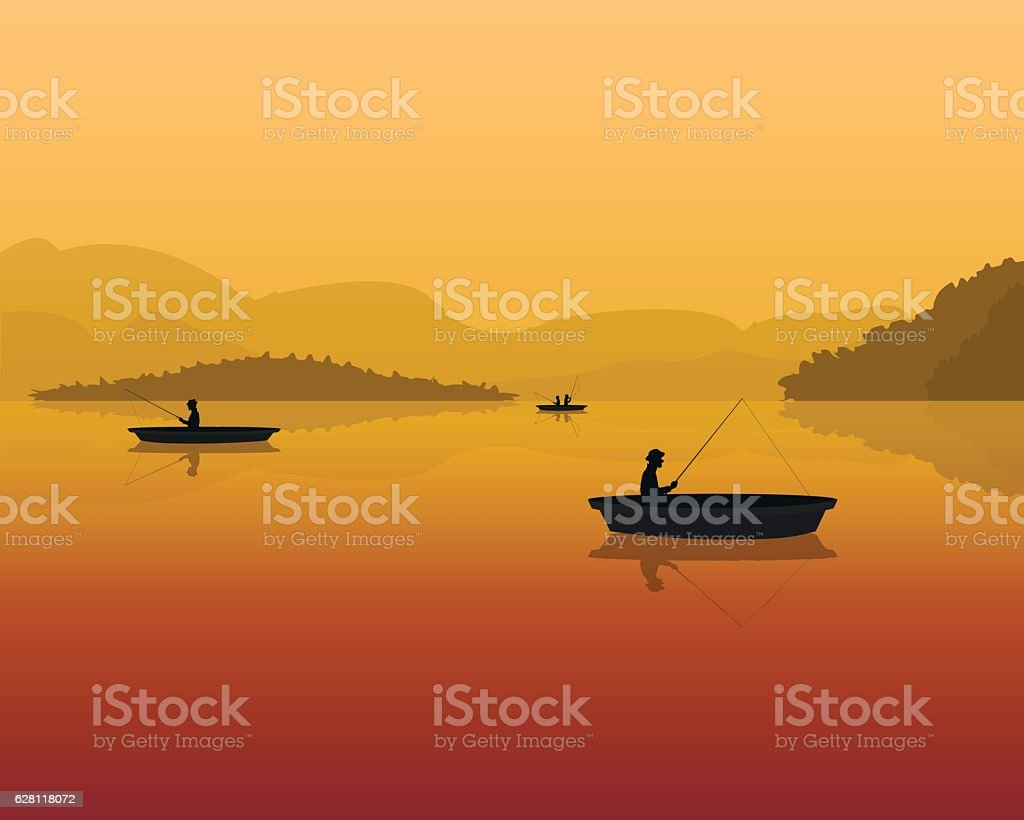 fishermen in a boat with fishing rods in the water vector art illustration