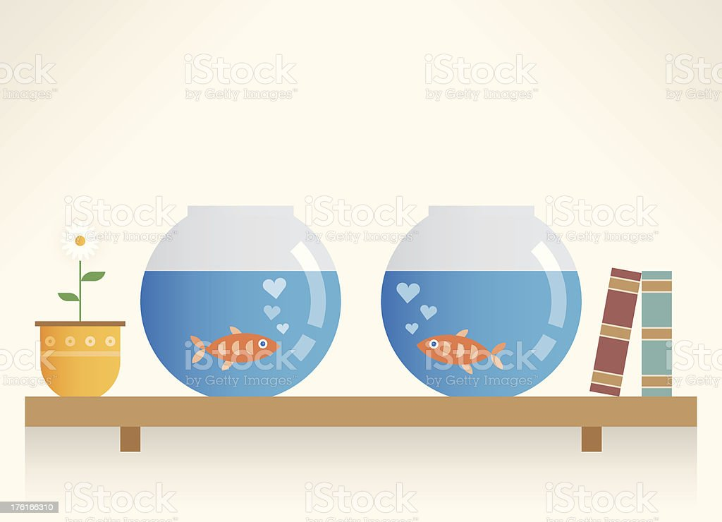 Fishes in Love royalty-free stock vector art