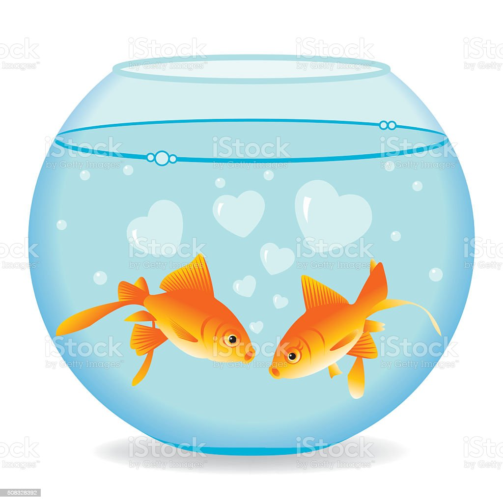 Fishes in Love vector art illustration
